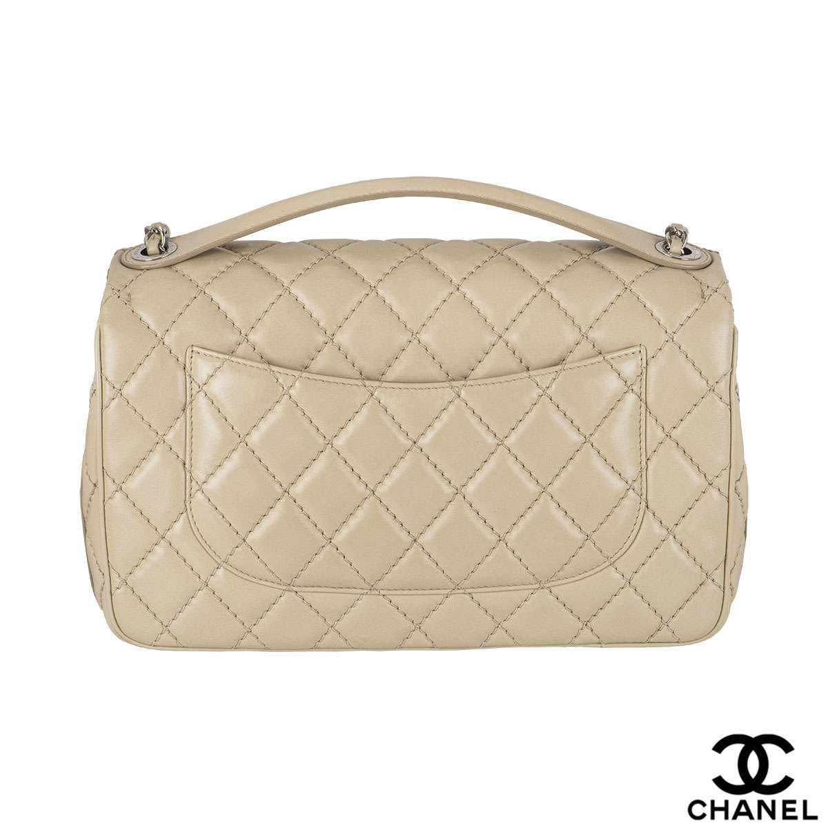Chanel Ivory Lambskin Top Handle Handbag